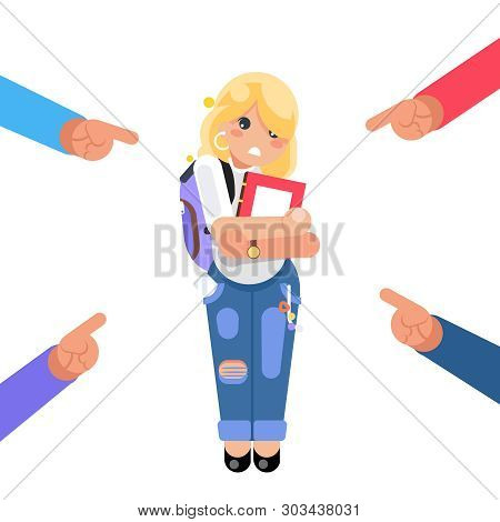 Student scared girl helpless victim rude harassment pointing fingers fear female pain woman character isolated flat design vector illustration poster