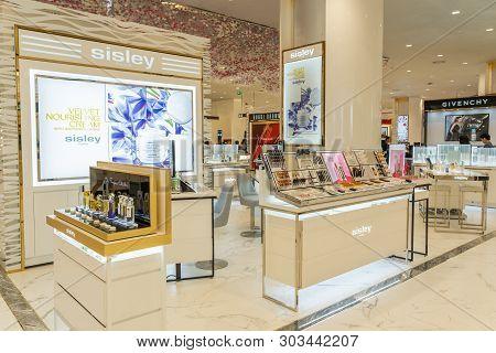 Bangkok, Thailand - November 2018 : Sisley Cosmetics Shop Store In Siam Takashimaya Department Store