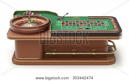 Side View Of Roulette Table With Chips, Rack And Roulette Wheel - 3d Illustration
