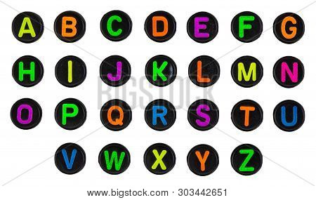 Plastic Beads Alphabet Isolated On A White Background.