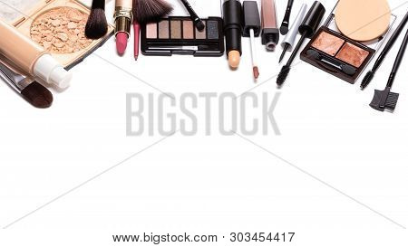 Day Makeup Set With Copy Space. Beauty Products For Natural Make-up Isolated On White. Decorative Co