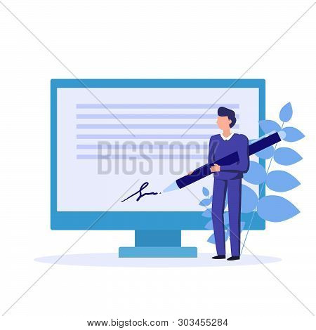 Electronic Signature. Signature Of Business Contract With An E-signature On Device. Vector Concept I