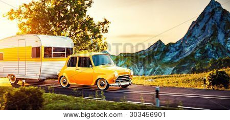 Retro Car With White Trailer. Unusual 3d Illustration Of A Classic Caravan. Camping And Traveling Co