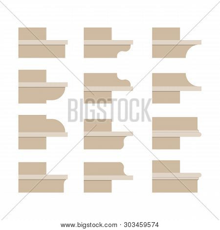 Modern Cornice. Vector Illustration. Design, Building And Architecture. Set Of Icons