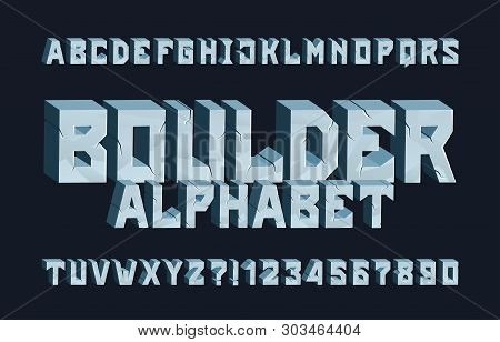 Boulder alphabet font. 3D Cracked letters and numbers. Stock vector typescript for your typography design. poster