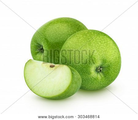 Green apples isolated on white background, granny smith poster