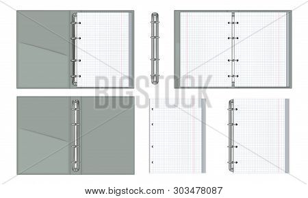 A Set Of Realistic Notebooks With Paper Binding Rings. Block White Sheets In A Cage. 3d Mockup For B