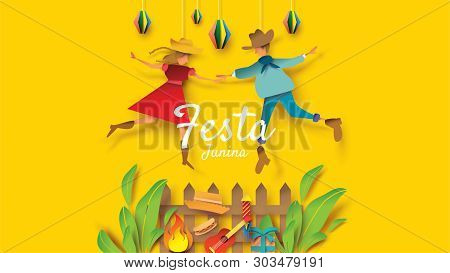 Festa Junina Festival Design On Paper Art And Flat Style With Party Flags And Paper Lantern, Can Use