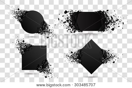 Explosion Banners. Square And Circle Destruction Shapes With Debris Isolated On White Background. 3d
