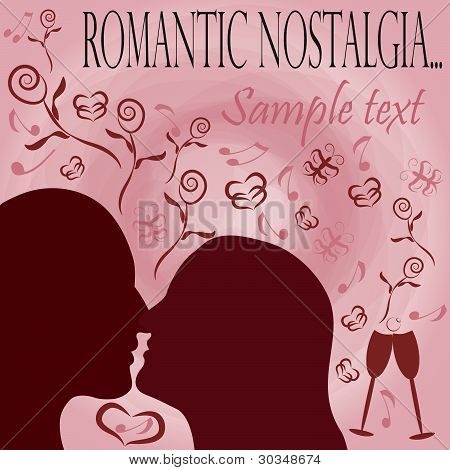 Romantic Nostalgia Background With  Silhouettes And Different Signs Of Love