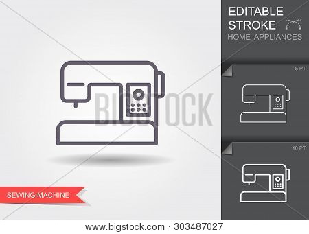 Sewing Machine. Line Icon With Editable Stroke With Shadow