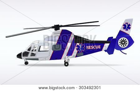 Ambulance Helicopter. Medical Sanitary Aviation. Transport Air Rescue Service. White And Blue Fusela