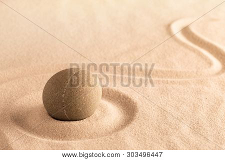 yoga or spa wellness background, Japanese sand and stone garden. Concept for purity, balance and harmony for concentration in mindfulness.