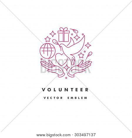 Vector Logo, Badge And Icon For Charity And Volunteer Concepts. Philanthropic Organization Sign Desi