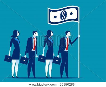 Social Capitalism. Business Leader Holding Flag. Concept Business Vector Illustration.