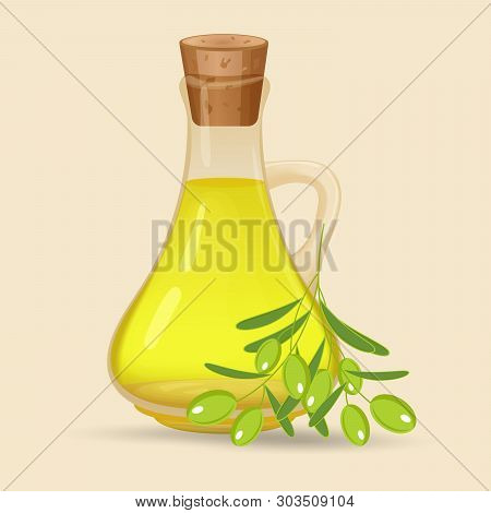 Carafe With Olive Oil, Isolated On White Background. Glass Jug With Oil And Olives With Leaves On A