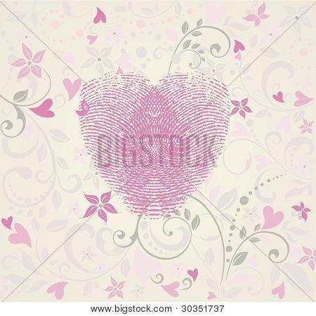 Fingerprint Heart Vintage