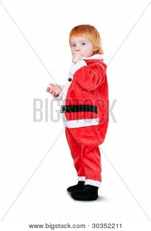 Portrait Of Little Cute Baby In Red Suite Of Santa  Isolated