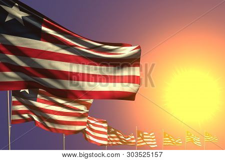 Pretty Many Liberia Flags Placed Diagonal On Sunset With Place For Your Text - Any Occasion Flag 3d