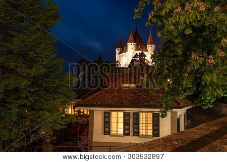 Nightscape Of Thun Castle In The City Of Thun, Bernese Oberland, Switzerland