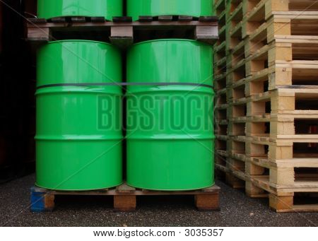 Green Oil Drums