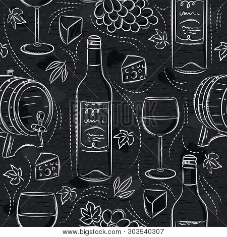 Seamless Patterns With Red Wine Set, Cask, Barrel, Wineglass, Grape And Cheese On Black Chalkboard.