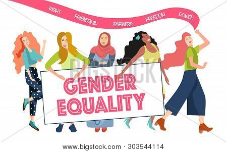 A Group Of Women Participate In Demonstrations For Equal Rights Between A Man And A Woman. Women Fig