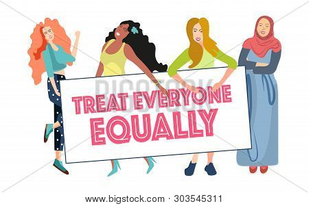 Women Speak In Demonstrations For Equal Rights Of Men And Women, For Gender Equality In Social Socie