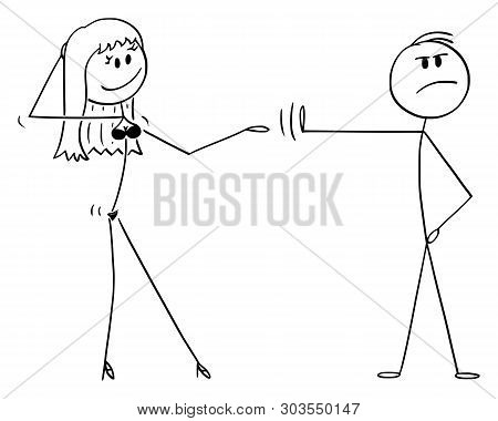 Cartoon Stick Figure Drawing Conceptual Illustration Of Principled Or High-principled Man Rejecting