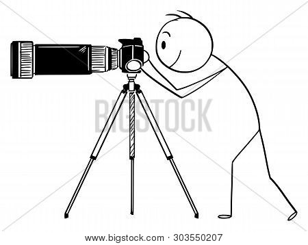 Cartoon Stick Figure Drawing Conceptual Illustration Of Man Or Photographer Taking Photo With Camera