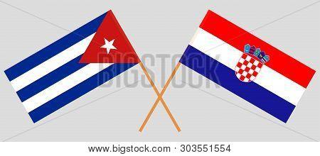 Cuba and Croatia. The Cuban and Croatian flags. Official colors. Correct proportion. Vector illustration poster