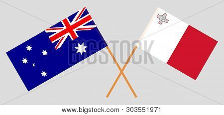 Australia And Malta. The Australian And Maltese Flags. Official Colors. Correct Proportion. Vector I