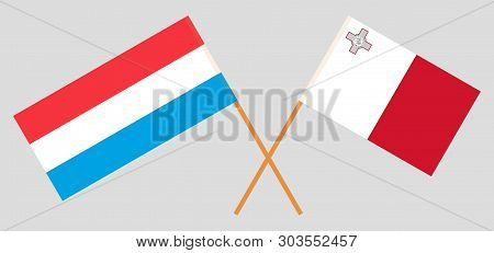 Malta And Luxembourg. The Maltese And Luxembourgish Flags. Official Colors. Correct Proportion. Vect