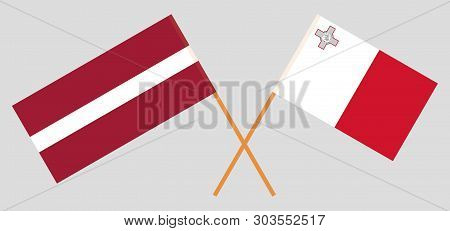 Malta And Latvia. The Maltese And Latvian Flags. Official Colors. Correct Proportion. Vecto