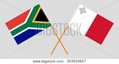 Malta And Rsa. The Maltese And South African Flags. Official Colors. Correct Proportion. Vector