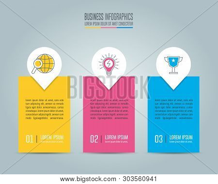Creative Concept For Infographic With 3 Options, Parts Or Processes. Timeline Infographic Business D