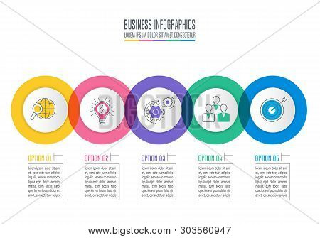 Creative Concept For Infographic With 5 Options, Parts Or Processes. Timeline Infographic Business D