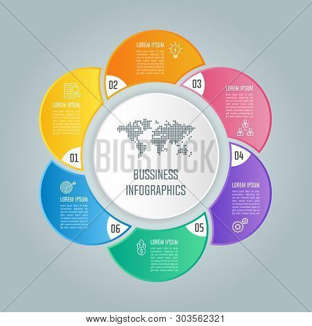Creative Concept For Infographic With 6 Options, Parts Or Processes. Timeline Infographic Business D