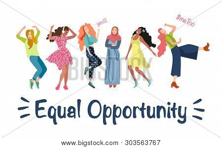 Girls Of Different Nationalities Advocate For Gender Equality. The Concept Of Women Liberation, Equa