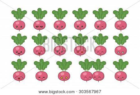 Radish Cute Kawaii Mascot. Set Kawaii Food Faces Expressions Smile Emoticons.