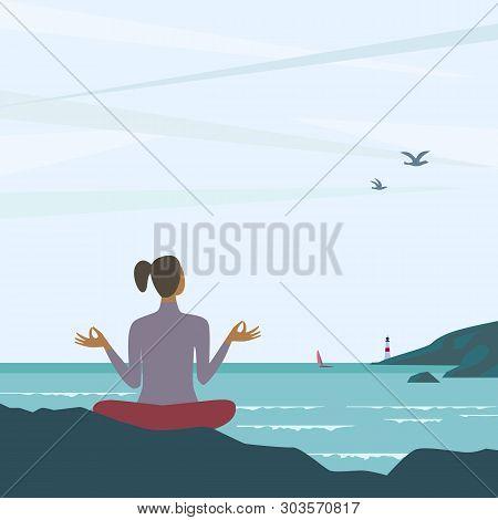 Beach Yoga Relax Flat Color Vector. Girl Exercising Yoga On Nature Cartoon. Summer Nature Outdoors E