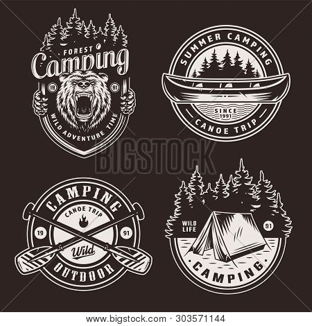 Vintage Summer Outdoor Recreation Emblems With Ferocious Bear Head Canoe Boat Forest Crossed Paddles