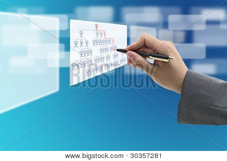 Business Hand Writing Career Path on organization Chart Diagram for Job promotion Concept