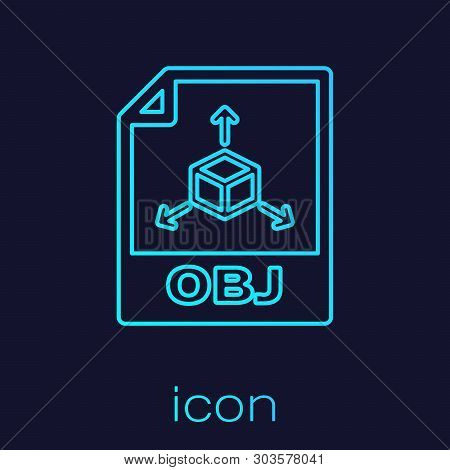 Turquoise Obj File Document Icon. Download Obj Button Line Icon Isolated On Blue Background. Obj Fil