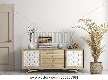 Modern interior of living room with door and dresser 3d rendering poster