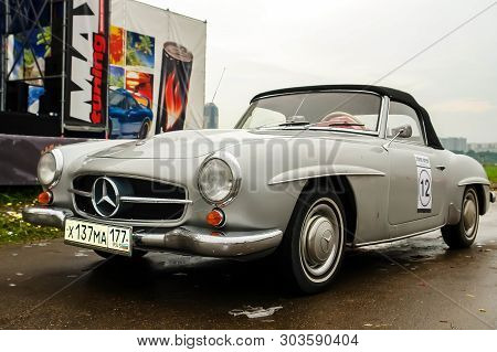 Moscow, Russia - May 25, 2019: Old Vintage Mercedes Benz 190 Sl Convertible In Gray Color Parked