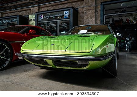 Berlin - May 11, 2019: Sports Car Maserati Indy (tipo Am 116), 1970. 32th Berlin-brandenburg Oldtime