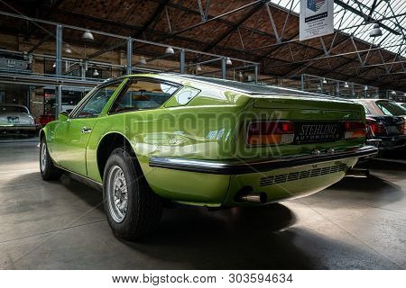 Berlin - May 11, 2019: Sports Car Maserati Indy (tipo Am 116), 1970. Rear View. 32th Berlin-brandenb