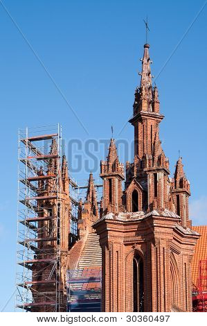 St. Anne Church Renovation Against A Blue Sky