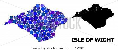 Blue Circle Dot Mosaic And Solid Map Of Isle Of Wight. Vector Geographic Map Of Isle Of Wight In Blu